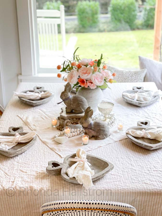 Simple Farmhouse Valentine's Day Tablescape |Valentines Day | how to decorate for valentines day | romantic table | shabby chic table scape | farmhouse table scape | french country decor | family valentines day | easy table setting | simple table scape| Wood charger | HallstromHome