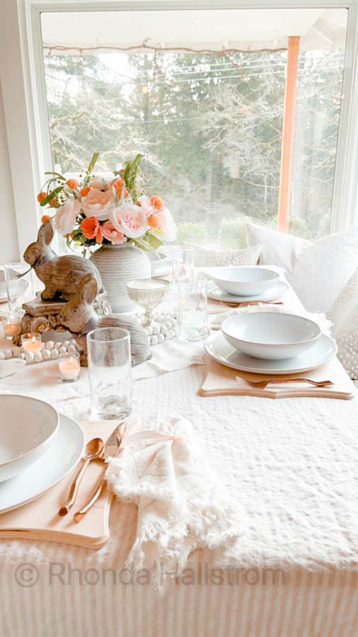 Simple Farmhouse Valentine's Day Tablescape |Valentines Day | how to decorate for valentines day | romantic table | shabby chic table scape | farmhouse table scape | french country decor | family valentines day | easy table setting | simple table scape | HallstromHome