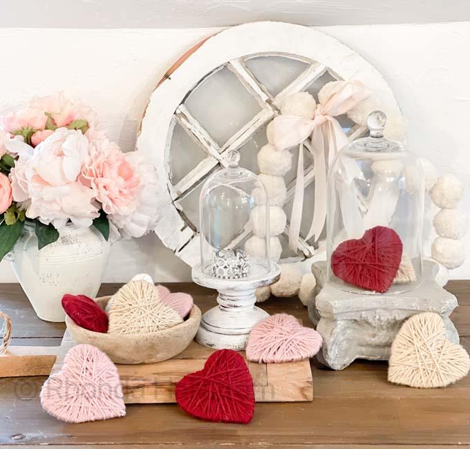 DIY Pom Pom Wreath / Yarn Hearts / Easy Wreath DIY / Valentine's Wreath Tutorial / Heart Shaped Wreath / Shabby Chic Valentine's Decor /  Farmhouse Valentine's Decor / Spring Decor / Easy Pom Pom Heart Wreaths /  HallstromHome