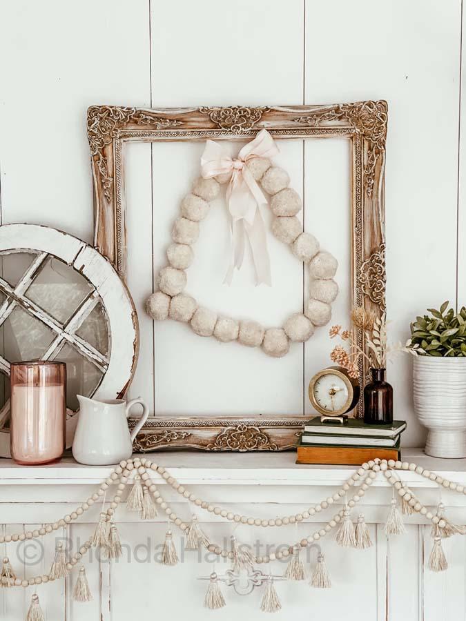 DIY Pom Pom Wreath / Easy Wreath DIY / Valentine's Wreath Tutorial / Heart Shaped Wreath / Shabby Chic Valentine's Decor /  Farmhouse Valentine's Decor / Spring Decor / Easy Pom Pom Heart Wreaths /  HallstromHome