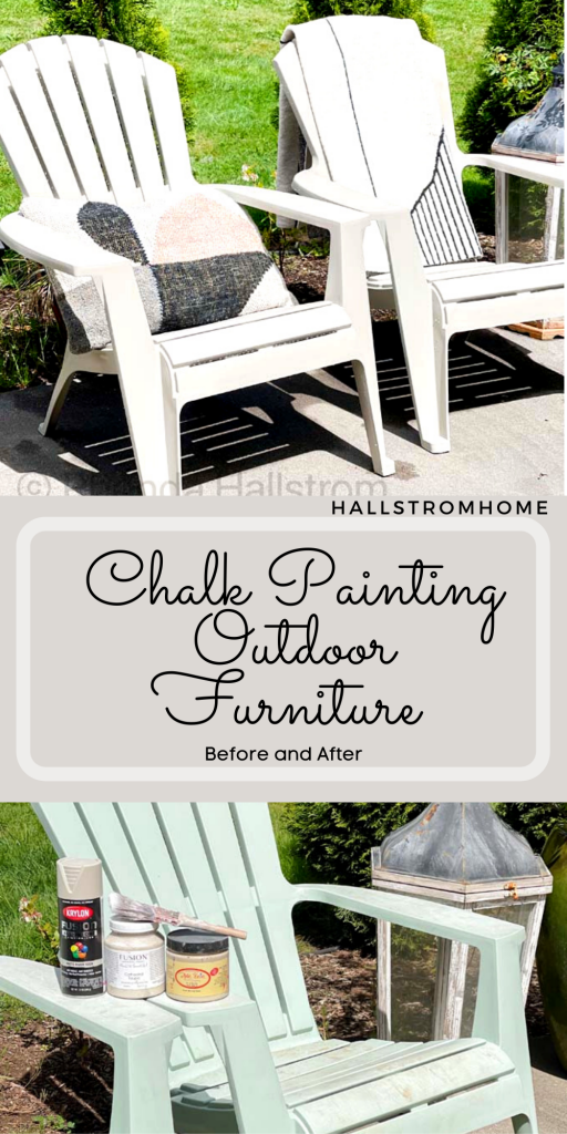 Chalk Painting Outdoor Furniture / Chalk painting outdoor decor / chalk painting furniture / chalk painting ideas / chalk paint diy / chalk paint tutorial / Before and After chalk painting / chalk paint for outdoor furniture / easy chalk painting / chalk painting chairs / chalk painting furniture diy / HallstromHome