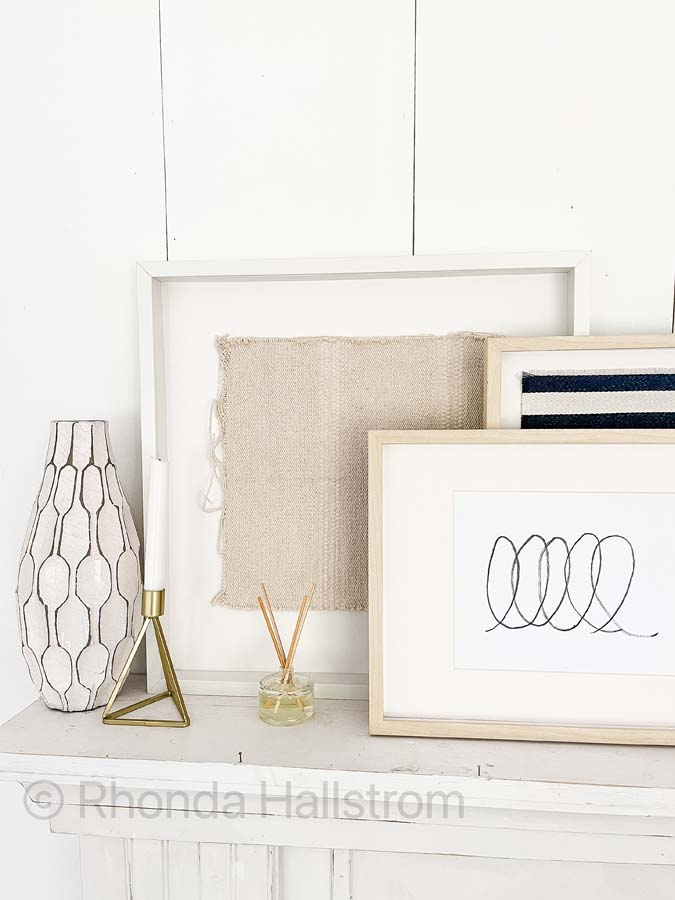 Mantel Decorating Ideas For Everyday / Modern mantel Decorating Ideas / Spring Mantel Decor / Fireplace mantel / Farmhouse Mantel Decorating / What to put on a mantelpiece / How to dress a mantel / mantel accessories / summer mantel decor / everyday decor / Decor Frames / candles / HallstromHome