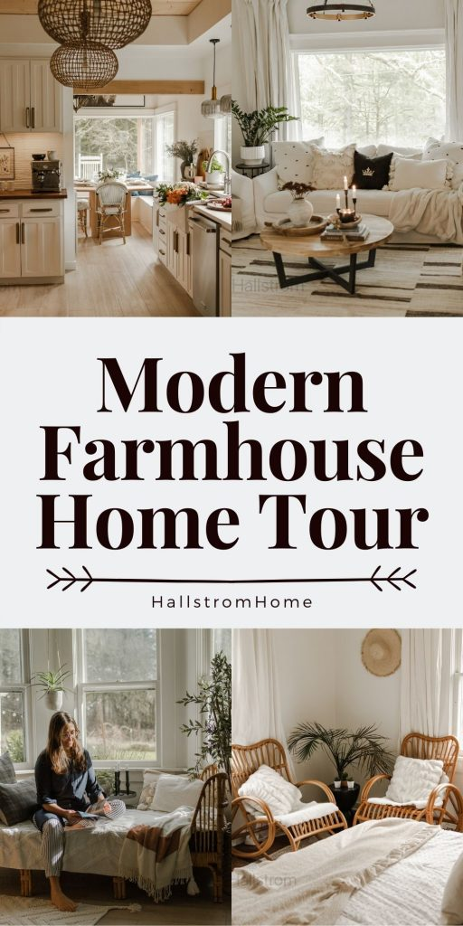 Modern Farmhouse Home Tour / Farmhouse kitchen tour / farmhouse living room tour / farmhouse dining room / modern bedroom / farmhouse home decor / modern farmhouse remodel and tour / living room mantel / bedroom decor / summer farmhouse style / HallstromHome