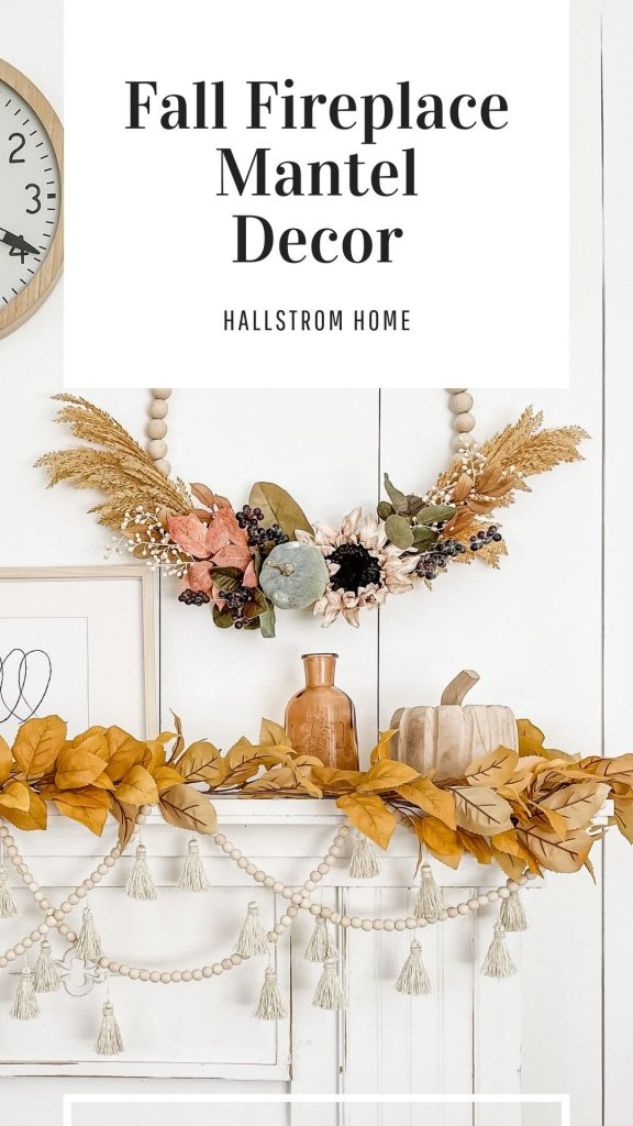 Fall Fireplace Mantel Decor / DIY Fall Fireplace Mantel Decorations / Decorating Mantel For Fall / Fall Mantel Decor / Mantel Fall Decor / HallstromHome
