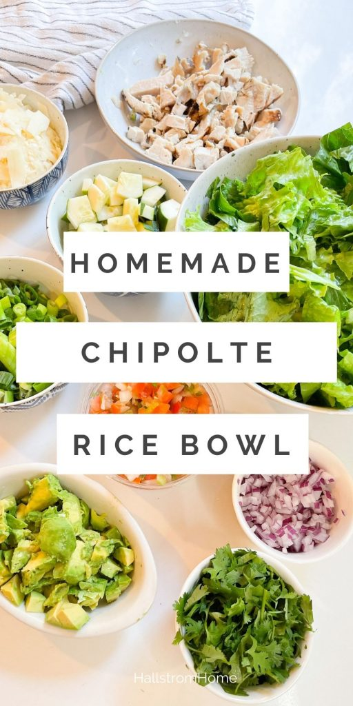 Homemade Chipotle Rice Bowl / How To Make A Rice Bowl / Rice Bowl Recipe Chicken / Ideas For Taco Night / Taco Tuesday ideas / Healthy Taco Recipe / Rice Bowl Recipe Easy / HallstromHome